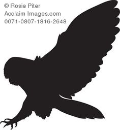 Silhouette of an owl, a bird of prey with its claws extended, about to capture its meal, probably a mouse