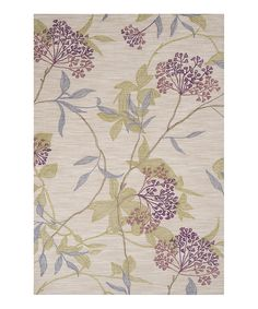 Look at this Ivory & Green Floral Bunch Ameila Rug on #zulily today!