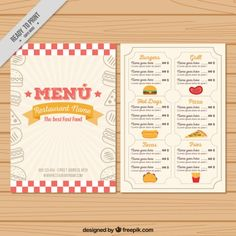menu design template Pizza Menu Vectors, Photos and PSD files Food Menu Template, Restaurant Menu Template, Restaurant Names, Menu Vintage, Diner Menu, Cafe Menu, Menu Pizza, Burger Names, Cafeteria Menu