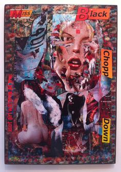 Miss Black Chopper Down  TRXTR Year: 2011      Medium: Collaged original on wooden panel      Description: Signed by the artist.      Size: 71 x 46 cm    Available:1    Price:  £850.00 $ € ¥ Hung Up, Art Uk, Urban Art, Chopper, Girly, The Originals, Medium, Black, City Art