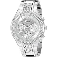 GUESS Women's U0628L1 Oversized Silver-Tone Multi-Function Watch with... ($143) ❤ liked on Polyvore featuring jewelry, watches, guess jewellery, stainless steel jewelry, silver tone jewelry, guess watches and silvertone watches