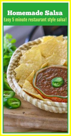 This restaurant style homemade salsa recipe can be made easily in your food processor or blender in 5 minutes! The flavors are fresh and delicious! You will never buy store bought salsa again! #homemadesalsa #salsa Best Appetizer Recipes, Mexican Food Recipes, Sweet Recipes, Spanish Recipes, Tailgating Recipes, Dip Recipes, Sauce Recipes, Veggie Recipes, Vegetarian Recipes