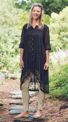 black cotton duster with lace collar and hem, button-tab sleeves