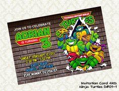 10 x Personalised Teenage Mutant Ninja Turtles TMNT Birthday Party Invites JJ