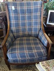 Sitting Chair - Blue Plaid Fabric