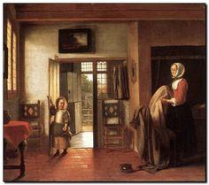 Schilderij interieur oude meester Pieter de Hooch - mypainting http://www.mypainting.nl/webshop/104739-Pieter-de-Hooch