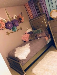 Fancy kids bedroom design ideas for dream homes 11 Unicorn Bedroom Decor, Unicorn Rooms, Unicorn Decor, Unicorn Wall, Unicorn Themed Room, Daughters Room, Little Girl Rooms, Little Girls Room Decorating Ideas Toddler, My New Room