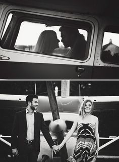 Romantic airplane engagement shoot by Dana Ann Photography. This repin is a good example of a diptych and really pulls the two images together to show a stronger bond between the two subjects.
