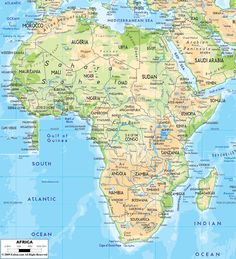 Physical Map Of Africa Deserts Plateaus Rivers Etc Africa