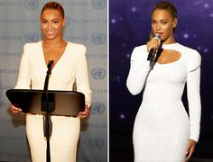 Beyonce Works Sleek White Dresses For Humanitarian Day Performance