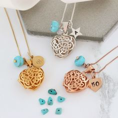 A personalised celtic heart locket necklace with Turquoise birthstones. A beautiful intricate filigree locket. Add initial and number charms to create a bespoke keepsake December birthday gift that will become a modern heirloom Birthstone Charms, Birthstone Necklace, Turquoise Birthstone, Celtic Heart, Heart Locket Necklace, Pearl Stud Earrings, Birthstones, Birthday Gifts, Turquoise Jewellery