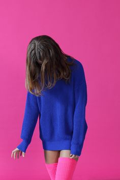 Thigh socks and sweater - stunning brights colbolt blue hot pink #rarepearinspiration