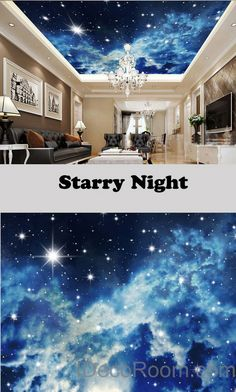 3D Starry Night Galexy Ceiling Wall Mural Wall paper Decal Wall Art Print Deco…