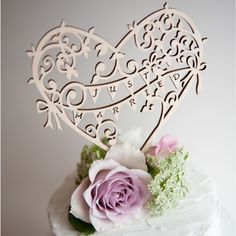Garden Party Just Married Wedding Wooden Cake Topper - Perfect for a Summer Wedding   Love & Lilah
