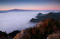 sun rises in Pieniny Mountains, Poland.