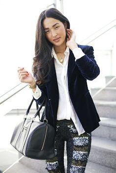 velvet jacket + sequin trousers