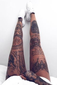 Tattoo legg sleeve women quote roses For more . - Tattoo legg sleeve women quote roses For more … – – - Tattoo Bein Frau, Tattoos Bein, Full Leg Tattoos, Dope Tattoos, Dream Tattoos, Badass Tattoos, Sleeve Tattoos For Women, Girl Tattoos, Tattoo P