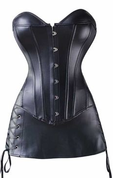 26eec1718f5 Cool Black Faux Leather Corset Bustier Top with Combo Skirt On Sales