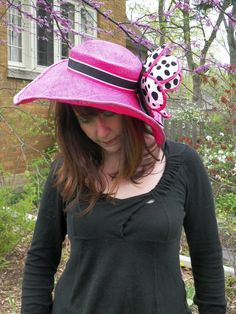 CUSTOM ORDER - Pink Kentucky Derby Hat with Handmade Polka Dotted Flower