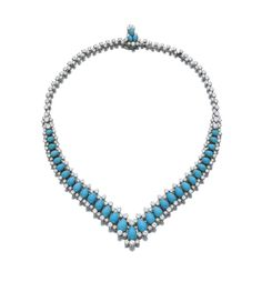 TURQUOISE AND DIAMOND NECKLACE, BULGARI, 1970S The graduated line of polished turquoise set to either side with brilliant-cut diamonds, signed Bulgari,