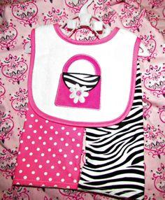 Pink Baby Boutique - Baby Girl Zebra Pink Polka Dot Bib