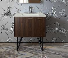Kohler Jute Vanity with Black Metal Legs and White/Oval Ceramic Sink - Hall Bath Kohler Vanity, 30 Vanity, Hall Bathroom, Bathroom Vanities, Contemporary Plays, Powder Room Design, Ceramic Sink, Traditional Furniture, Shaker Style