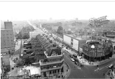 View from East Ham Town Hall, looking west down Barking Road at the junction of High Road North 1965