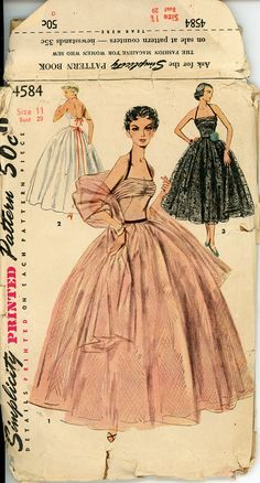 1950s Evening Dress Pattern Simplicity 4584 Junior Misses Full Skirt Ball Gown Bust 29 Womens Vintage Sewing Pattern UNCUT.  via Etsy.