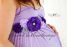 Purple Sash Belt Flower Shabby Chic Pearl by ShabbyFlowerBowtique, $27.99