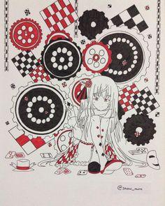 Harlequin -Haelequin = Harlequin (=゚ω゚)ノ #drawing #sketch #anime #animegirl #haelequin #harlequin #card #poker #gear #hat #mask #red #black #artline #micron