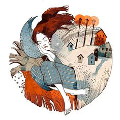 Снежного дня,снотворцы. #art #artistsoninstagram #illustrator #illustration #snow #autumnmood #sleep #dream #watercolor #watercolorart #digitalart #orangeandblue #nature #lovers #circule #russianillustrator #снег #сон #рокнролл