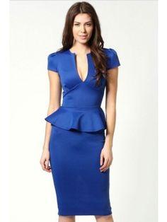Royal Blue V-neck Midi Peplum Pencil Dress