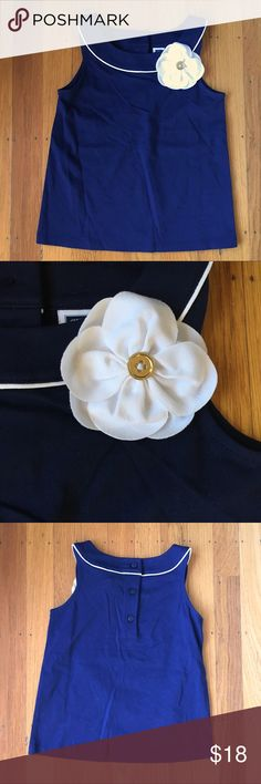 Janie and Jack flower tank Navy blue tank top with white trim and a white 3d flower with a gold button. NWOT Janie and Jack Shirts & Tops Tank Tops