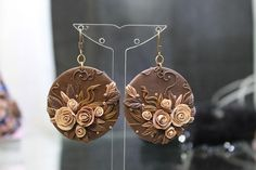 Brown Earrings made of Polymer Clay Fimo Jewelry by DASH Art Studio on Etsy, $39.00 very nice loved them