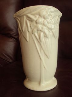 "Matte White Pottery- Vintage Nelson McCoy leaves and berries white color. 8"" Tall. Excellent!"