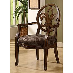 @Overstock.com - Fleur de Lis Chocolate Chair - The classy design of this distinctive Fleur de Lis chair is the perfect way to enrich your home decor. This comfortable living room furniture is upholstered in chocolate-colored polyester velvet that features a swirling dot and circle pattern.  http://www.overstock.com/Home-Garden/Fleur-de-Lis-Chocolate-Chair/4092909/product.html?CID=214117 $149.99