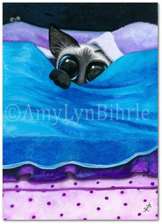 Siamese Cat Mouse PeekaBoo Art Prints or ACEOs by by AmyLynBihrle