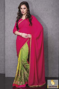Latest fancy green dark pink color chiffon georgette party wear saree looks very trendy and fashionable. Buy this low price range wedding wear saree online #saree, #embroiderysaree more: http://www.pavitraa.in/store/embroidery-saree/