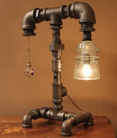 Glass Insulator Steampunk Industrial Style Pipe by TRoweDesigns