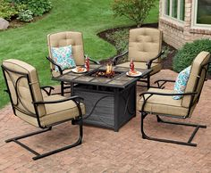 Summer nights are best by the fire with this square tile-top firepit from our Sun Prairie Collection. Cushioned C-spring chairs and its steel frames are weather-resistant for countless nights under the stars.