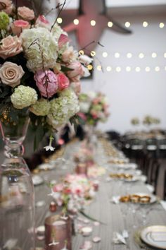 Silver table linens & blush flowers