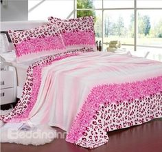 New Arrival Beautiful Pink Color Leopard Print Flannel Blanket  @bedding inn