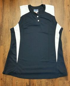 Team Basics V Neck Polyester Sleeveless Jersey Navy w/White Wms Lg MSRP $17.99 in Clothing, Shoes & Accessories, Women's Clothing, Athletic Apparel | eBay