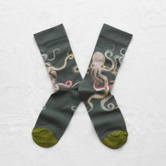 Bonne Maison Octopus Cotton Ankle Socks in Cedar