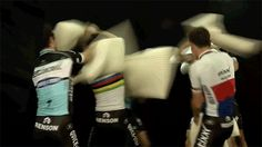 I'm feeling a little down today, so here is a gif of Etixx-Quickstep having a pillow fight. (via thisEQS training camp videoon YouTube)
