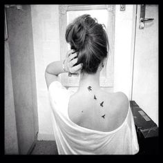 Small Black Birds Tattoo On Back For Women