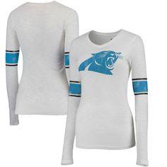 d6a12eda4dfd Carolina Panthers Juniors Team Leader V-Neck Long Sleeve T-Shirt - White