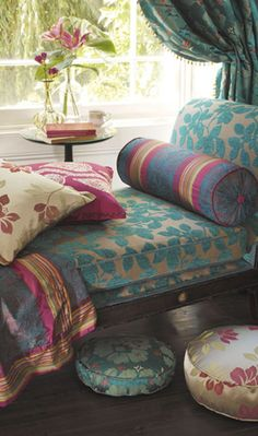 ⋴⍕ Boho Decor Bliss ⍕⋼ bright gypsy color & hippie bohemian mixed pattern home decorating ideas - daybed