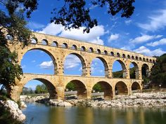 """The Pont du Gard  (Roman Aqueduct), in France, was built shortly before the Christian era to allow the aqueduct of Nîmes (which is almost 50km long) to cross the Gard river. The Roman architects and hydraulic engineers who designed this bridge, which stands almost 50m high and is on three levels, created a technical as well as an artistic masterpiece. (via Imapix)"