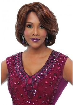 Color Shown: P4/30/33 GAIL is layered voluminous wrap style with swept bang. She is one of Vivica's most popular styles. It features layered wrap style hair that flows for beautiful movement while swe